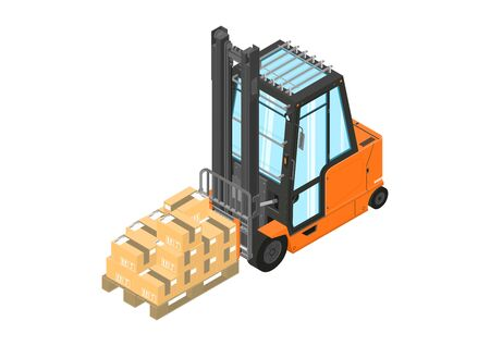 Forklift. Orange counterbalance forklift with a pallet. Isometric view. Flat vector.