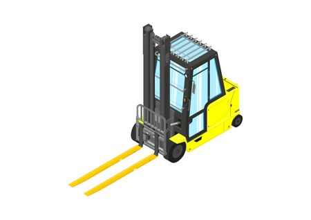 Yellow forklift. Counterbalance forklift truck in isometric view. Flat vector. Illustration