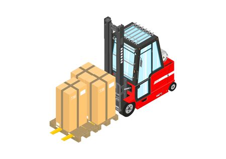Gas powered forklift. Isometric view of red lpg counterbalance forklift. Flat vector.