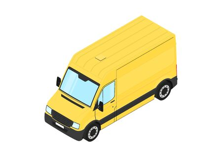 Yellow Van. Contemporary van on a white background. Isometric view. Flat vector.