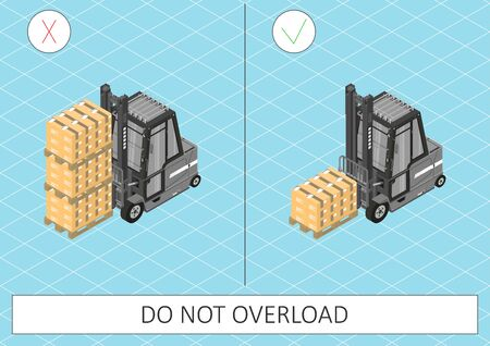 Forklift safety. Do not overload. Gray forklift on a blue background. Flat vector.