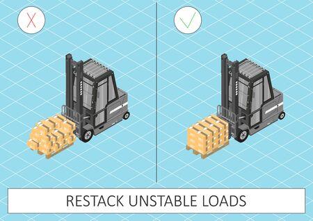 Forklift safety. Restack unstable loads Gray forklift on a blue background. Flat vector.