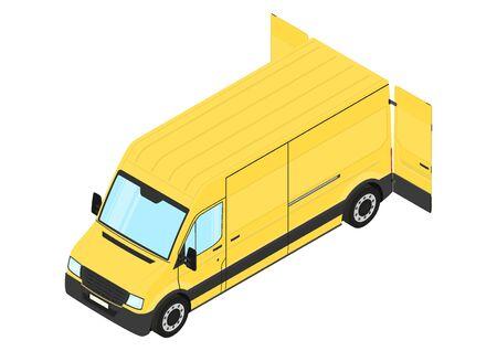 Modern van with back door open. Isometric view. Flat vector.