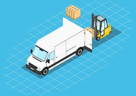 Forklift unloading cargo from the van. Isometric view. Flat vector. Stock Vector - 129595747
