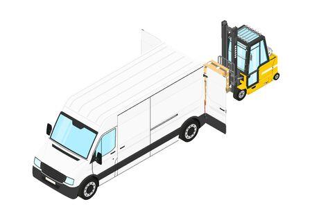 Forklift unloading cargo from the van. Isometric view. Flat vector. Ilustração
