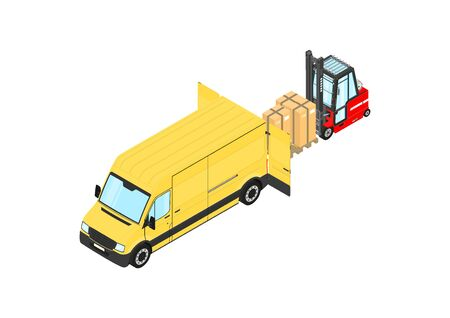 Forklift unloading cargo from the van. Isometric view. Flat vector.