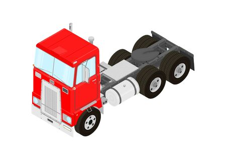 Semi-trailer truck. Vintage tractor unit on a white background. Isometric view. Flat vector.