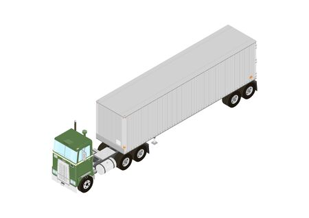 Vintage truck tractor with semitrailer. Isometric view. Flat vector. Ilustrace