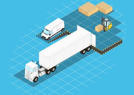 Logistic concept. Forklift and truck at the loading ramp. Isometric view. Flat vector.