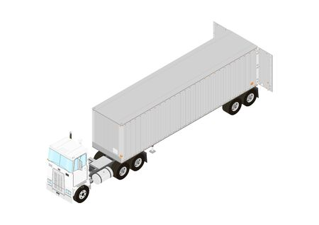 Tractor unit and trailer with open doors. Isometric view. Flat vector.