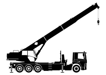 Mobile crane. Silhouette of a crane on a white background. Side view. Flat vector. Illustration