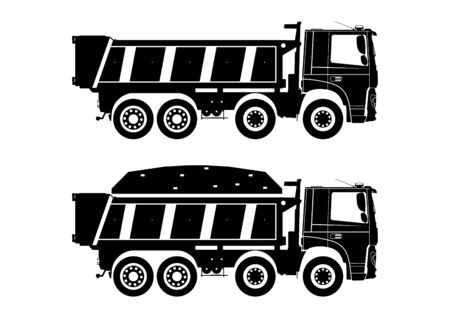 Tipper truck. Dumpers silhouettes on a white background with and without load. Side view. Flat vector. 일러스트