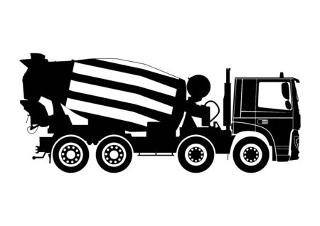 Concrete mixer truck. Silhouette on a white background. Side view. Flat vector.