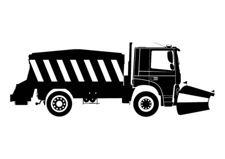 Snow plow. Silhouette of snow plough on a white background.Side view. Flat vector.