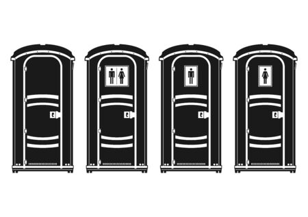 Portable toilet. Silhouettes of four plastic molded outdoor cubicle. Side view. Flat vector. 일러스트