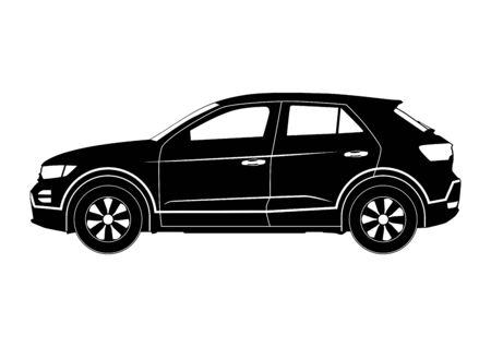 Crossover silhouette. Modern compact suv car. Side view. Flat vector. 向量圖像