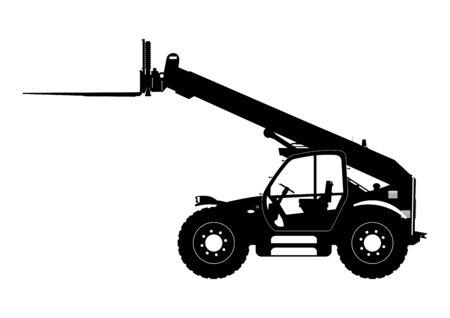 Telescopic handler. Sylwetka telehandler. Side view. Flat vector.