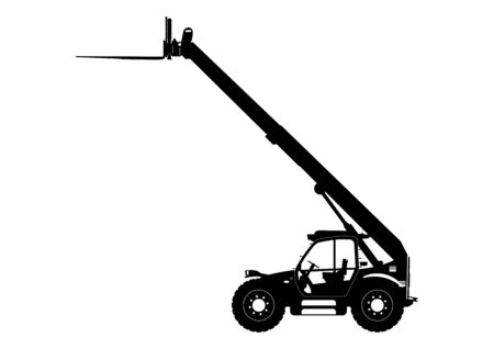Telescopic handler. Sylwetka telehandler. Side view. Flat vector.