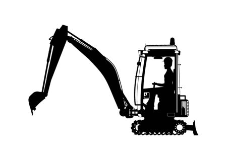 Mini excavator. Silhouette of an excavator with an operator in the middle. Side view. Flat vector.