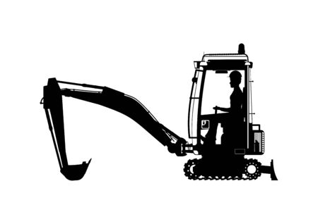 Mini excavator. Silhouette of an excavator with an operator in the middle. Side view. Flat vector. Иллюстрация