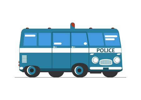 Police car. Side view of a simplified cartoon police car. Flat vector. Ilustracja