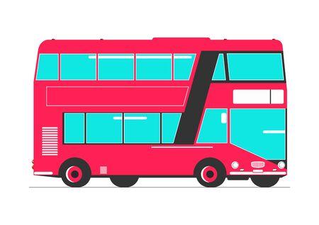 Double decker. Simplified double decker bus. Side view. Flat vector. Vektorgrafik
