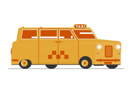 Cartoon taxi. Simplified retro London cab. Side view. Flat vector.
