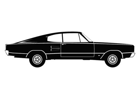 Classic car. Silhouette of a vintage car. Side view. Flat vector. Ilustracja