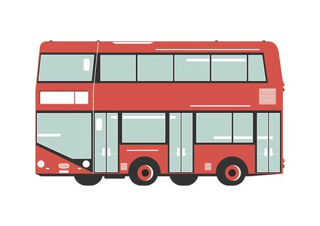 Double decker bus. Side view of cartoon double decker. Flat vector.