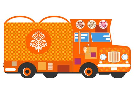 Jingle truck. A simplified colorful truck. Side view. Flat vector.