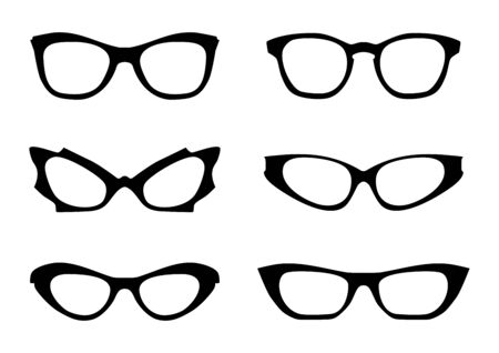 Eyglasses. Black silhouettes of eyeglass frames in the style of the 1960s. Front view. Flat vector.