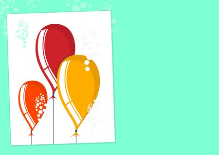Balloons. Simplified background with balloons and space for any short wishes. Flat vector.