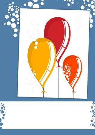 Balloons. Simplified background with balloons and space for any short wishes. Flat vector. Çizim
