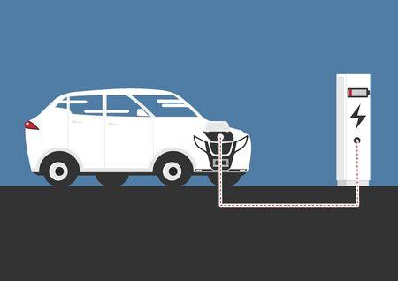 Une illustration simplifiée d'une voiture électrique en charge à une borne de recharge. Vue de côté. vecteur plat. Vecteurs