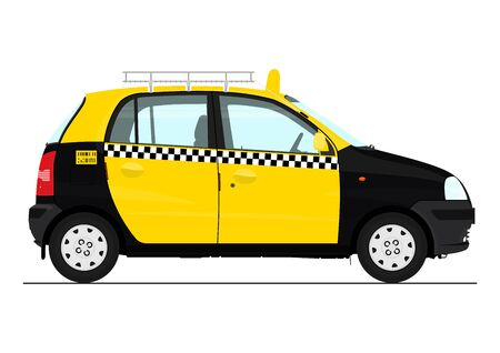 Small Asian taxi. Side view of cartoon Indian taxi. Flat vector.