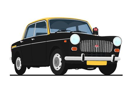 Mumbai, India. Circa year 2020. Last year of Premier Padmini service as a taxi (also called Kaali Peeli) in Mumbai. Flat vector.