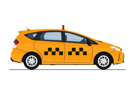 Yellow cab. Modern taxi in yellow. Side view. Flat vector.