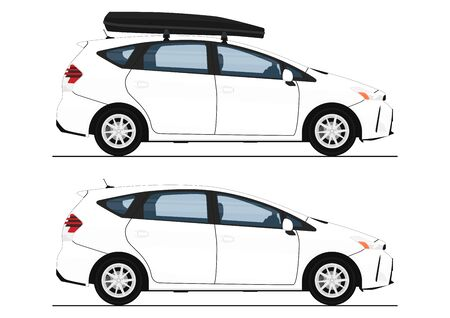 Modern station wagon. Side view of white station wagon with and without roof box. Flat vector.