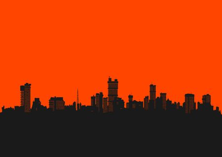 Cityscape. Background in bright colors with the silhouette of the modern city. Flat vector.