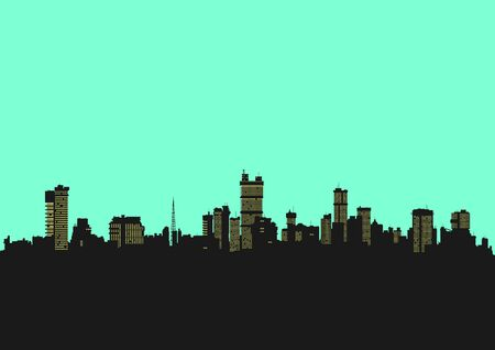 Cityscape. Background in bright colors with the silhouette of the modern city. Flat vector. Vector Illustration