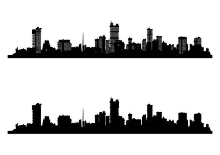 Modern cityscape. Black silhouette of the city with and without windows. Flat vector.