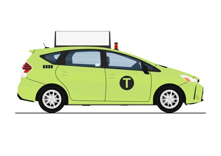 Green cab. Side view of modern taxi in green color. Flat vector.