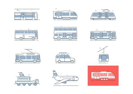 Public transport line icons. Side view of bus, coach, train, underground, tram, taxi, plane, ship with easy color change. Flat vector.