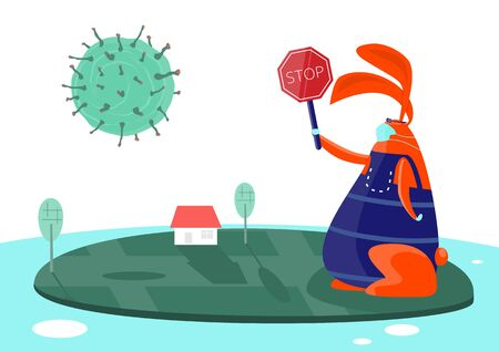 Stop pandemic. Rabbit with mask and gloves and a stop sign. Flat vector illustration.