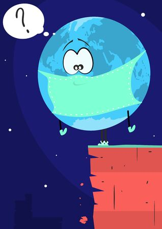 Cartoon planet earth in a mask standing on the edge of a precipice. Flat vector.