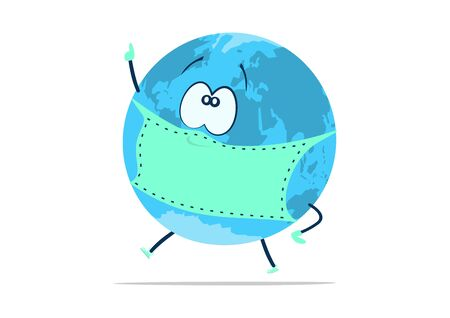 Planet earth in a mask on a white background. Flat vector.