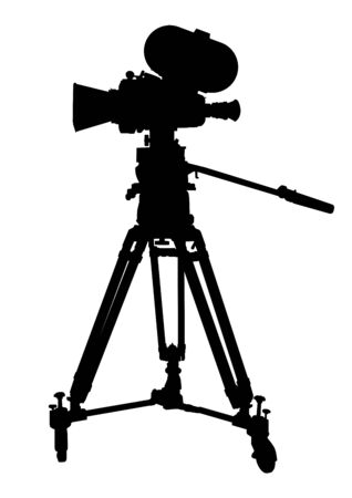 Black silhouette of vintage film camera on a white background. Vector. Vettoriali