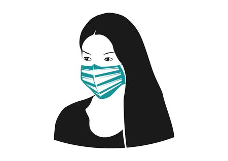 Woman in a protective mask. Silhouette with easy-to-change colors. Vector.