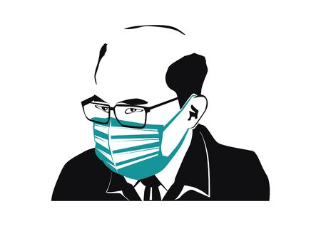 A man wearing a protective mask. Black silhouette with a mask. Flat vector.