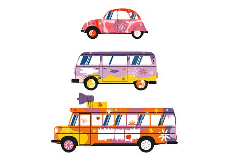 Three colorful hippie cars on a white background. Side view. Flat vector design elemnts.